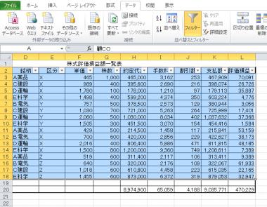 エクセル1級、データベース