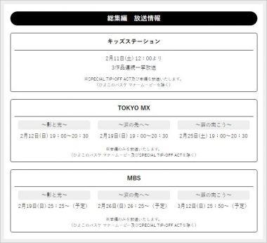 黒子のバスケ、総集編、放送日
