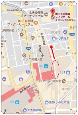 梅田駅周辺地図、茶屋町